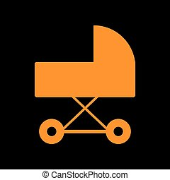 Pram sign illustration. Orange icon on black background. Old phosphor monitor. CRT.