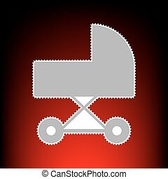 Pram sign illustration. Postage stamp or old photo style on red-black gradient background.