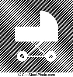 Pram sign illustration. Vector. Icon. Hole in moire background.
