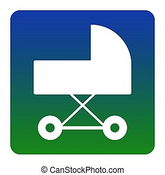 Pram sign illustration. Vector. White icon at green-blue gradient square with rounded corners on white background. Isolated.