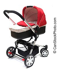 Pram - A modern pram isolated against a white background