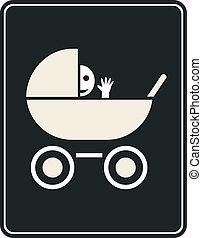 Pram - vector sign, icon - Smiling baby in the pram