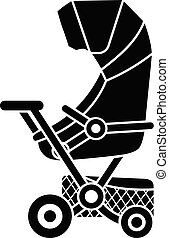 Pram with basket icon, simple style