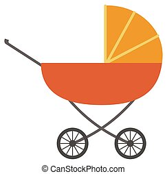 Perambulator with wheels and handle vector. Isolated pram for newborn kids and toddlers. Transportation of baby in pram. Gender-neutral carriage or buggy of orange color icon flat style illustration