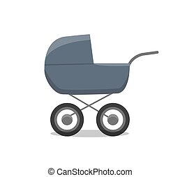 Pram with newborn little child isolated icon of perambulator for children young age vector. Infant care and transportation, carriage for child buggy