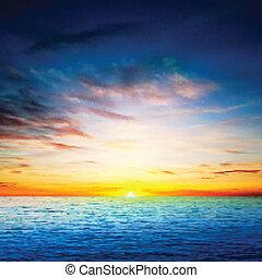 pramen, abstraktní, moře, grafické pozadí, východ slunce