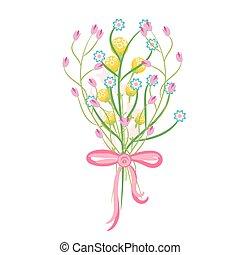pramen, zkusmý květovat, kytice, vektor, illustration.