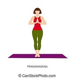 pranamasana, femme, yogi, pose, prière, ou