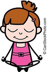 pranayama, yoga, schattig, karakter, pose, -, illustratie, vector, meisje, spotprent