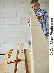 prancha madeira, tentando, carpinteiro, medida