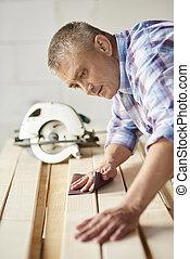 prancha madeira, usado, carpinteiro, lixa