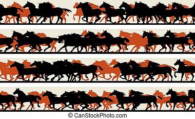 Prancing galloping horses. - Set of horizontal vector...