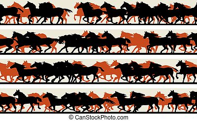 Prancing galloping horses. - Set of horizontal vector...