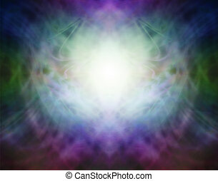 Soft misty light in the center with vignette edges depicting Pranic spiritual healing energy field