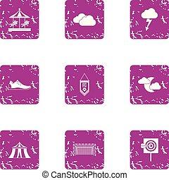 Prank icons set, grunge style - Prank icons set. Grunge set...