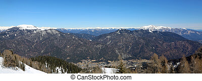 pranoramic view from Lussari Mountain in Northern Italy in...