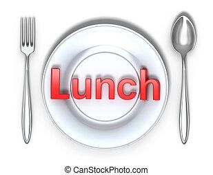 pranzo, bianco, concetto, isolato