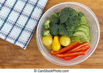 pranzo, ciotola, veggie, assortito