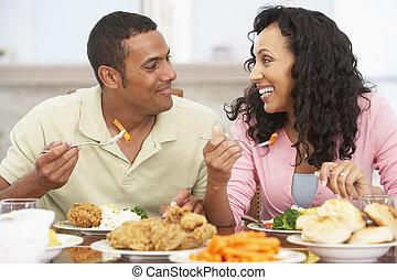 pranzo, coppia, detenere, insieme, casa