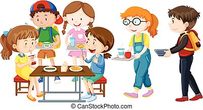 pranzo, detenere, bambini, tavola