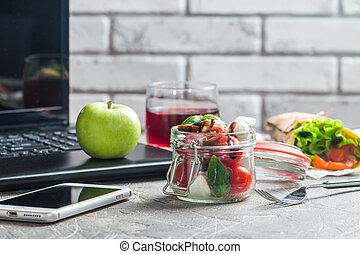 pranzo, mangiare, work., sano