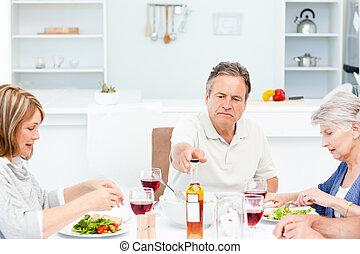 pranzo, presa, amici, maturo, insieme