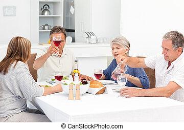 pranzo, presa, togethe, amici, maturo