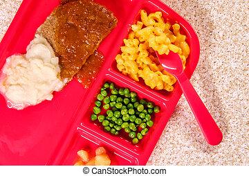 pranzo, salisbury, scuola, bistecca