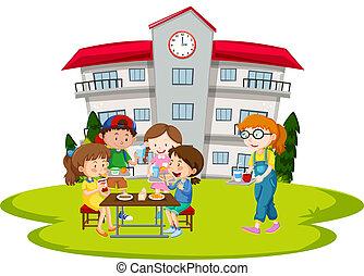 pranzo, scolari, detenere