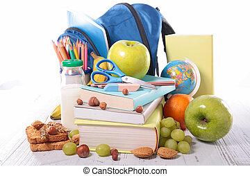 pranzo, scuola, frutta, provviste
