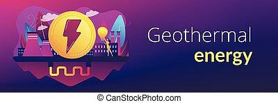 prapor, geothermal, pojem, header., energie