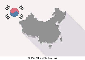 prapor, mapa, čína, korea south, dlouho, stín