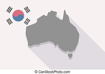 prapor, mapa, austrálie, korea south, dlouho, stín