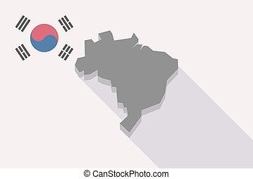 prapor, mapa, brazílie, korea south, dlouho, stín