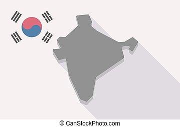 prapor, mapa, indie, korea south, dlouho, stín