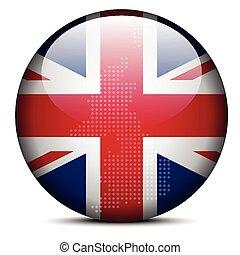 prapor, mapa, -, knoflík, británie, model, tečka, sjednocený, irsko, důležitý, severní, království