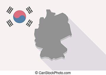 prapor, mapa, německo, korea south, dlouho, stín
