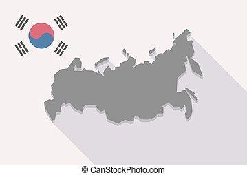 prapor, mapa, rusko, korea south, dlouho, stín