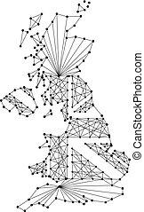 prapor, polygonal, mapa, vektor, čerň, zaměstnání, sjednocený, irsko, důležitý, tečkovat, jádro, británie, království, severní, ilustrace