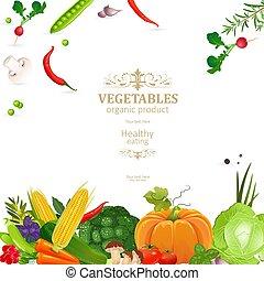 prapor, s, čerstvá zelenina, jako, tvůj, design