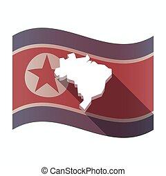 prapor, sever, mapa, brazílie, korea, dlouho, stín
