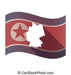 prapor, sever, mapa, německo, korea, dlouho, stín