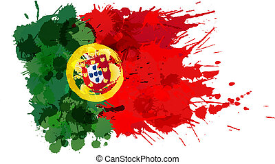 prapor, udělal, barvitý, portugalsko, šplouchnutí