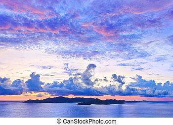 praslin, 岛, 日落