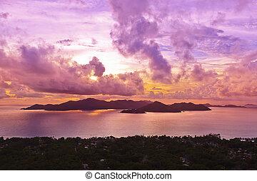 praslin, ilha, seychelles, pôr do sol