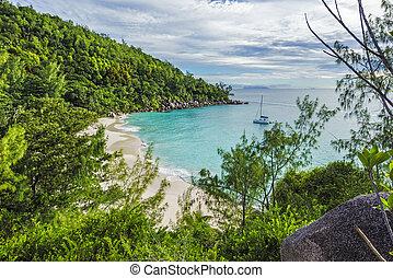 praslin, seychelles, przebadany, panoramiczny, 4, raj, georgette, plaża, anse