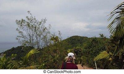 Praslin woman trekking - Praslin Seychelles, freedom woman...