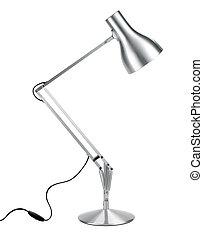 prata, anglepoise, lâmpada, com, caminho cortante