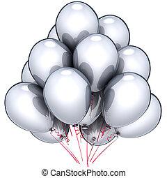 prata, balões, decoração partido