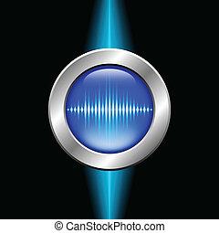 prata, botão, com, onda sonora, sinal